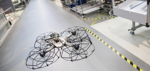 Drohnenflug in der Produktion