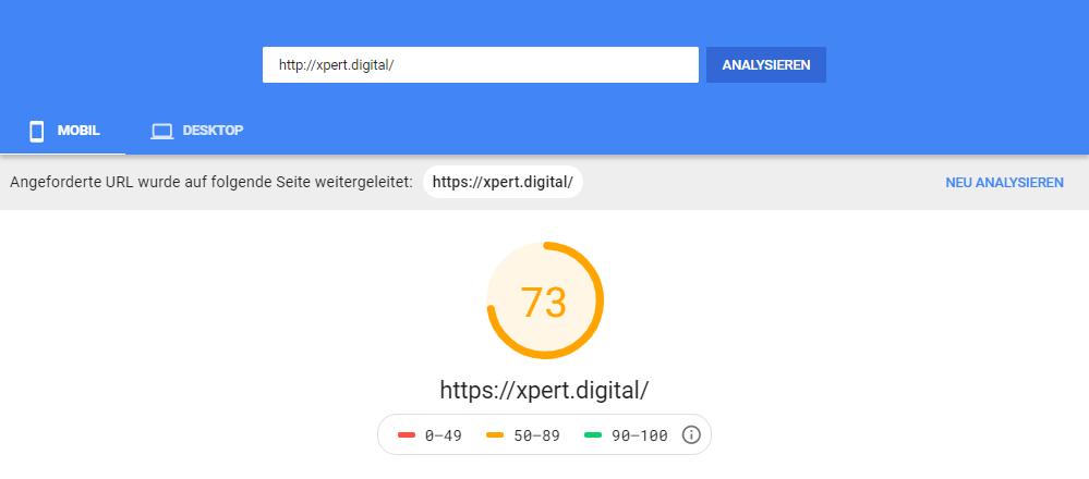 Mobiler Page Speed von Xpert.Digital (12.02.2021) - Bild: @Google