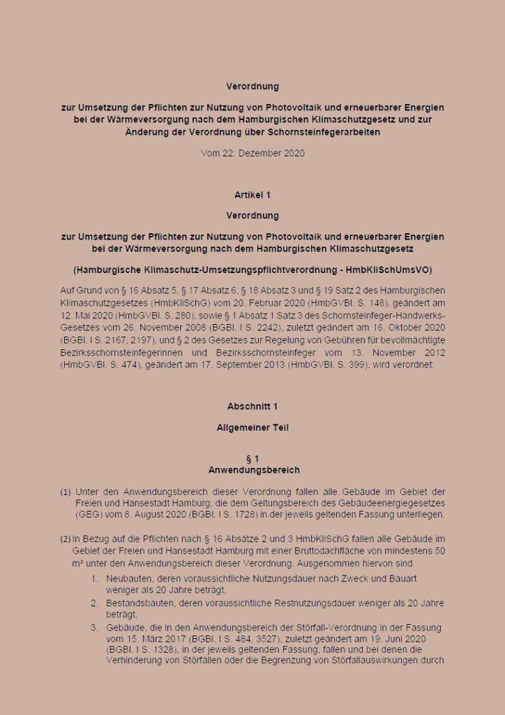 Umsetzungsverordnung Klimaschutzgesetz Hamburg PDF