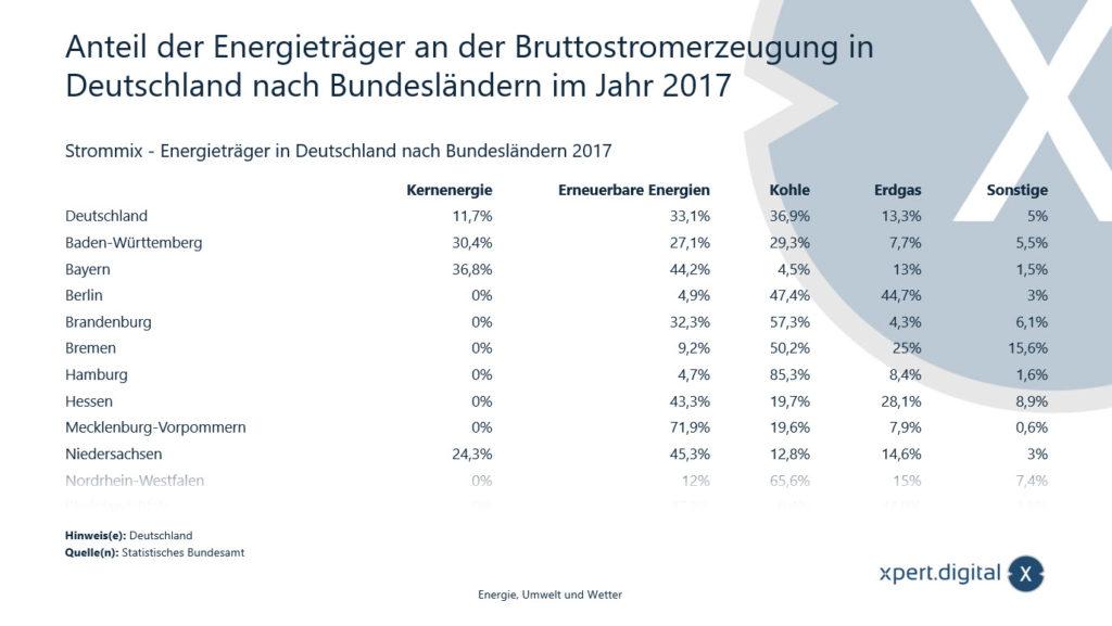 Anteil der Energieträger an der Bruttostromerzeugung in Deutschland - Bild: Xpert.Digital