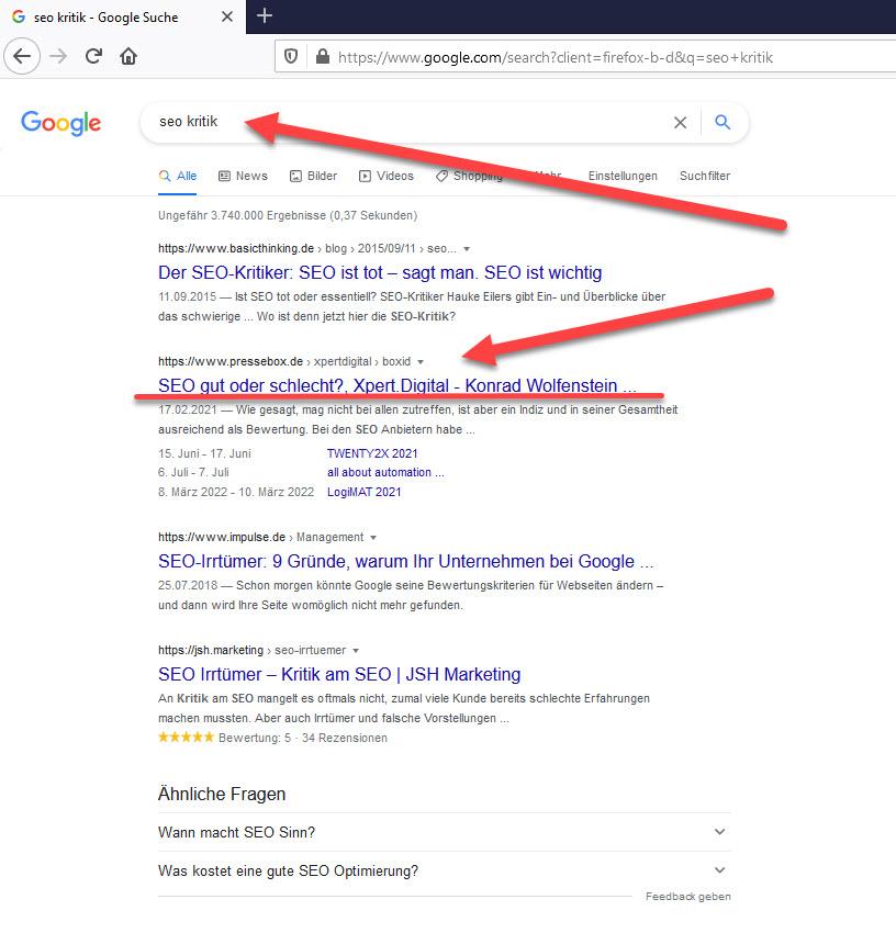 Google Suche mit den Suchbegriffen