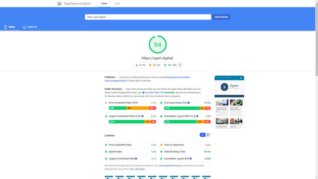 Google Page Speed für Xpert.Digital - Bild: Google & Xpert.Digital