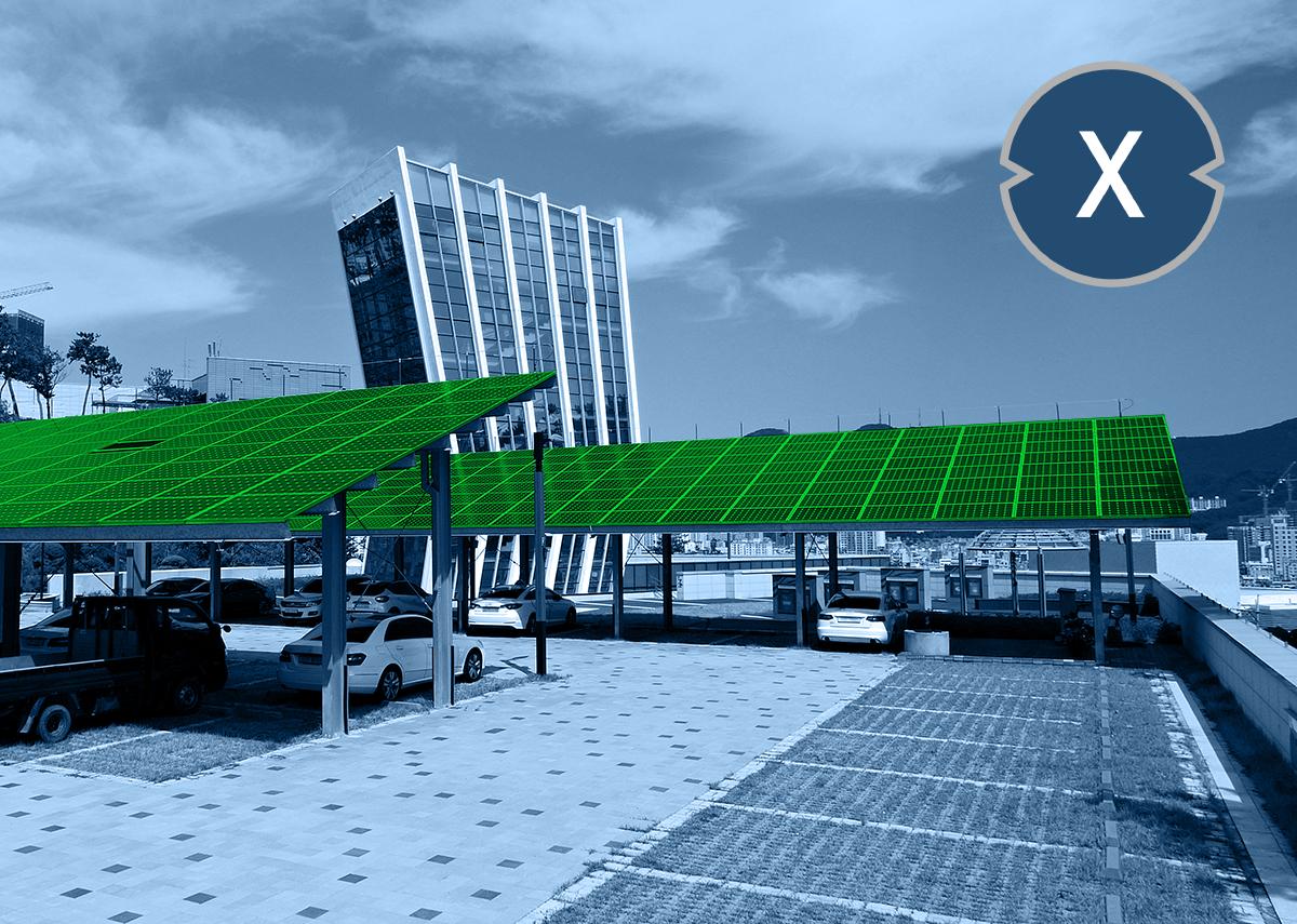 Solarcarport für Kunden wie Mitarbeiter - Bild: Xpert.Digital & seo byeong gon|Shutterstock.com