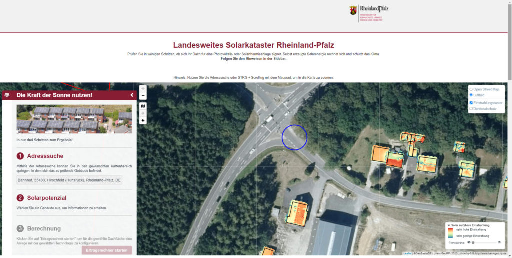 Solarkataster Rheinland-Pfalz - Bild: @solarkataster.rlp.de