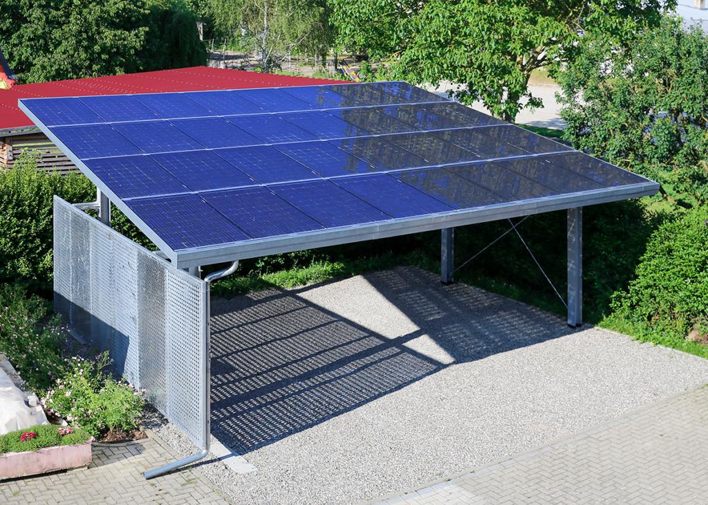 Solarcarport mit transparente Solarmodule-Überkopfzulassung